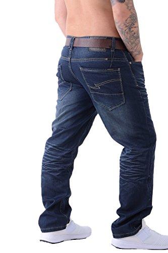 Dritta Con Uomo Classico Cintura Wash Jeans Fit Elegante Denim Crosshatch All Girovita Gamba Regular Dark qFawxftP