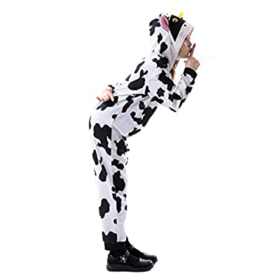 RJ Legend Cow Onesie Pajamas with Cow Ear and Horns for Boys and Girls - Dress Up for Kids, Large: Clothing