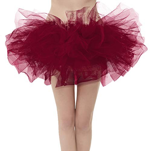 (Girstunm Women's Classic Layers Fluffy Costume Tulle Bubble Skirt Burgundy-Plus Size )