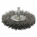 Weiler Steel Radial Bristle Brush - 4 in Outside Diameter - 0.008 in Bristle Diameter - 17968 [PRICE is per WHEEL]