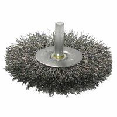 Weiler Steel Radial Bristle Brush - 4 in Outside Diameter - 0.008 in Bristle Diameter - 17968 [PRICE is per WHEEL]
