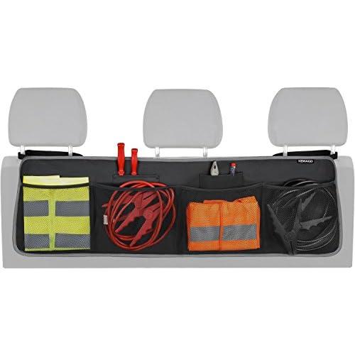 Organiseur de coffre Kewago à scratch | Organiseur de coffre à suspendre avec 4 grandes poches en filet pour organiser et optimiser l'espace du coffre