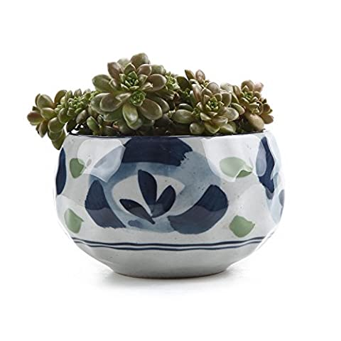 T4U 4.25 Inch Ceramic Japanese Style Clay Serial Green Spring Flower succulent Plant Pot Cactus Plant Pot Flower Pot Container Planter