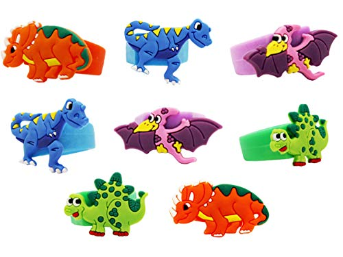 Jade's Party Packs Dinosaur World Jurassic Style Silicone Wristbands - Multicolor Roar Wristbands - Baby Dinosaur Bracelets! (24 Rings)