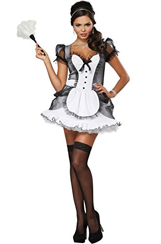 California Costumes Women's Luxe French Maid Sexy Dress Costume, White/Black, Small (Womens Sexy French Maid Costume)