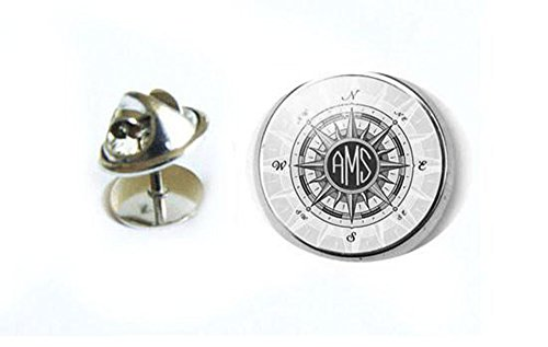 Monogram Compass Tie Tack, Personalized Tie Pin
