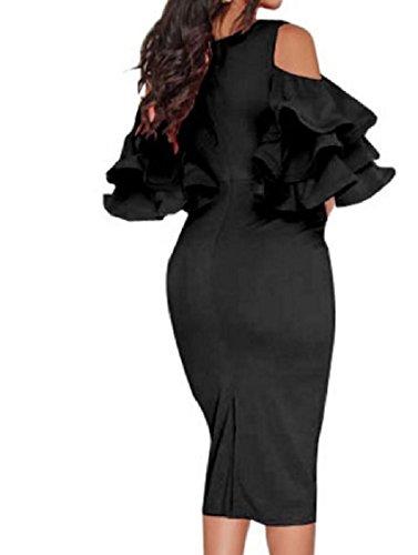Colour Shoulder Dress Cut Black Sheath Pure Coolred Flouncing Women Out Pencil Split qvw0C