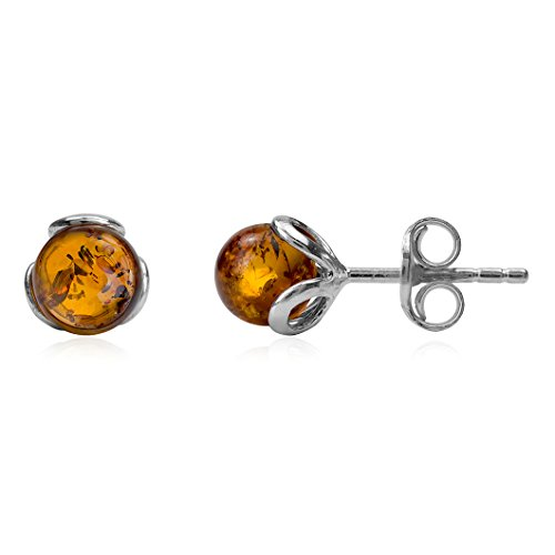 Amber Sterling Silver Small Stud Earrings (Amber Yellow Brooch)
