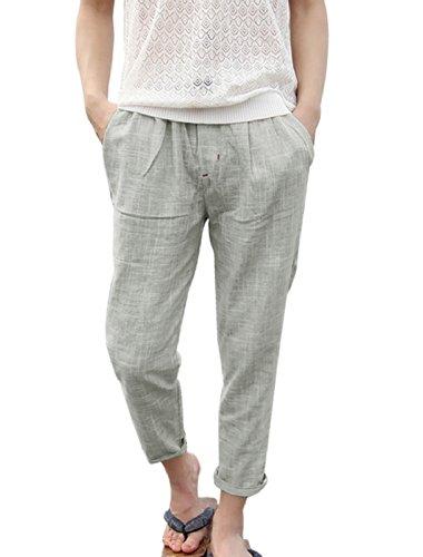 Men Elastic Drawstring Waist Two Slant Pockets Cropped Pants