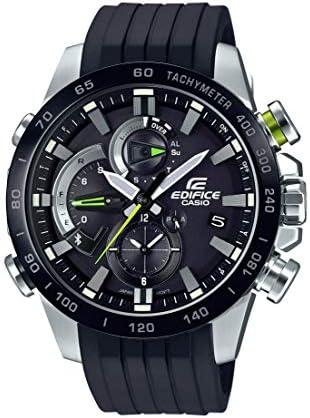 Casio Men s Edifice Stainless Steel Quartz Watch with Rubber Strap, Black, 21.75 Model EQB-800BR-1ACF