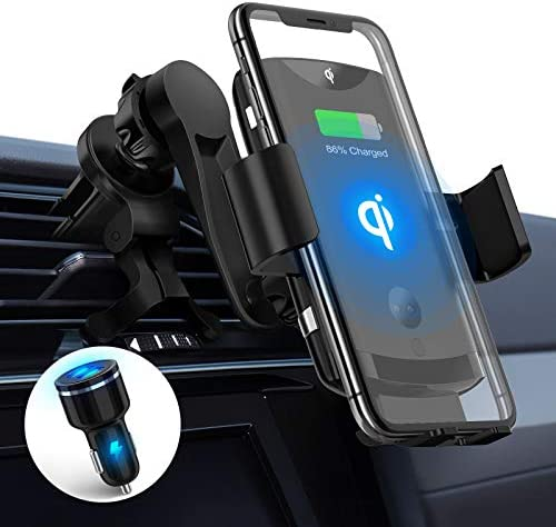 PLESON Max 15W Wireless Car Charger Mount & 36W QC3.0 Car Charger, Qi Fast Charging Auto-Clamp Air Vent Car Phone Holder Compatible with Galaxy S20 Ultra/S10+/Note 10+/S8+, iPhone 12/11 Pro Max/XR, LG