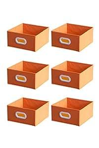 Shonpy Storage Drawer Organizer with plastic handle, 6 Pack, Orange