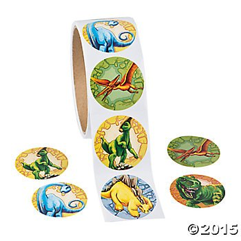Fun Express - Cool Dinosaur Stickers - PREHISTORIC Party FAVOR - DINO - JURASSIC - Education Teacher Classroom ACTIVITY (2 Rolls of 100)
