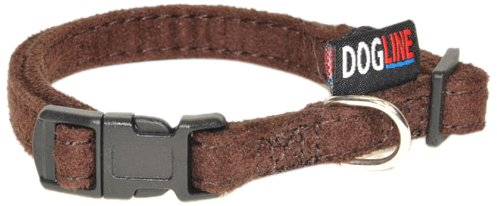 h Comfort Microfiber Soft Padded Pet Puppy Dog Collar with Nylon Reinforcement, Small, 5/8-Inch Wide, Brown (Wide Nylon Puppy Collar)