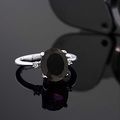 Gem Stone King 925 Sterling Silver Black Onyx and White Diamond Ring 2.22 cttw Available 5,6,7,8,9