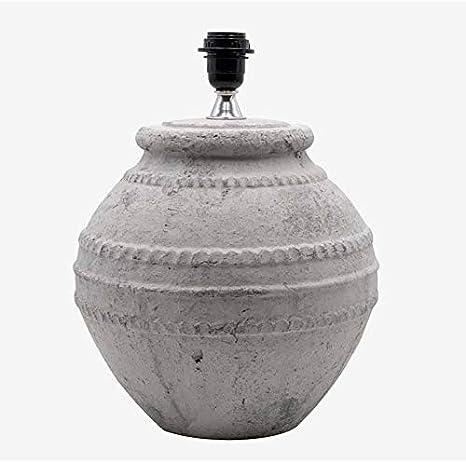 Better & Best 3001110 Lámpara de sobremesa en piedra blanca y gris, con forma de vasija ancha pequeña: Amazon.es: Iluminación