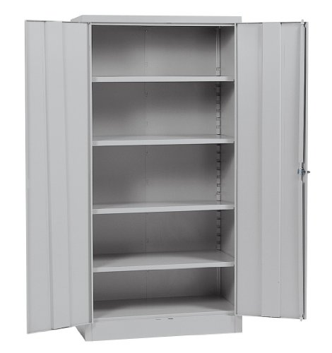 Gray Locking Storage Cabinet - Sandusky Lee RTA7000-05 Dove Gray Steel SnapIt Storage Cabinet, 4 Adjustable Shelves, 72