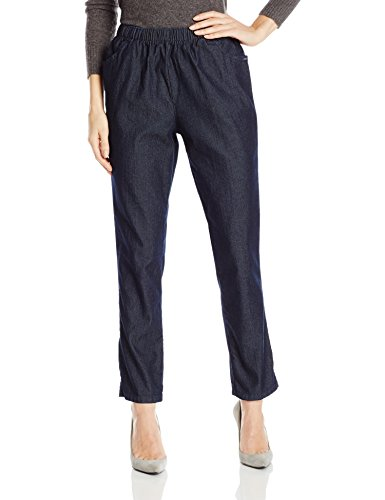 Chic Classic Collection Women's Stretch Elastic Waist Pull-On Pant, Dark Shade Denim, 14P