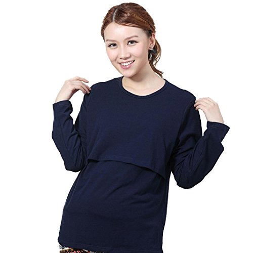 TAORE Mama Maternity T-shirt Breasted Dress Nursing Tops Breastfeeding Long Sleeve Pregnancy Tee