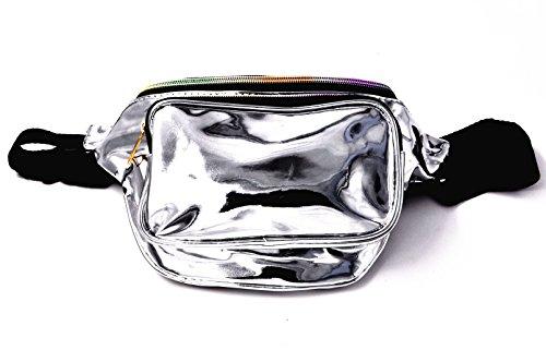 - Nodykka Laser Fashion Waterproof Shiny Neon Bag for Women Rave Festival Hologram Fanny Pack Bum Bag Travel Waist Pack Purse (Gun Silver)