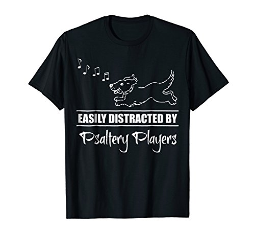 Running Dog Easily Distracted by Psaltery Players Music Notes T-Shirt