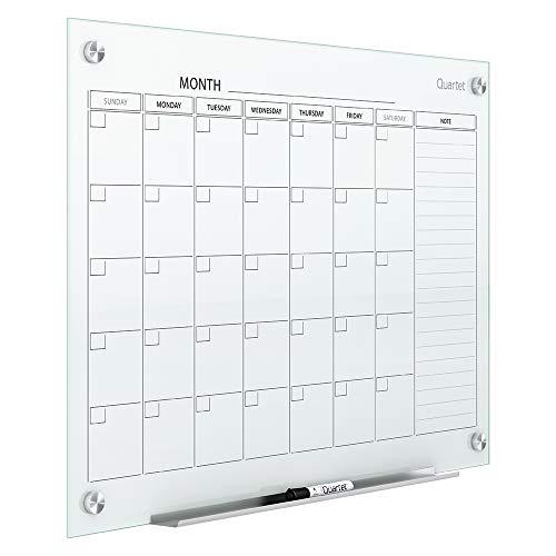 Quartet Magnetic Whiteboard Calendar - Glass Dry Erase White Board Planner - 2' x 1.5' - White Surface - Frameless - Infinity (GC2418F)