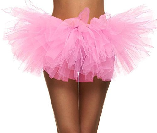 (Women's Retro 5-Layered Ballet Warrior 5K, 10K Fun Dash Run Tutu Skirt, Light Pink)