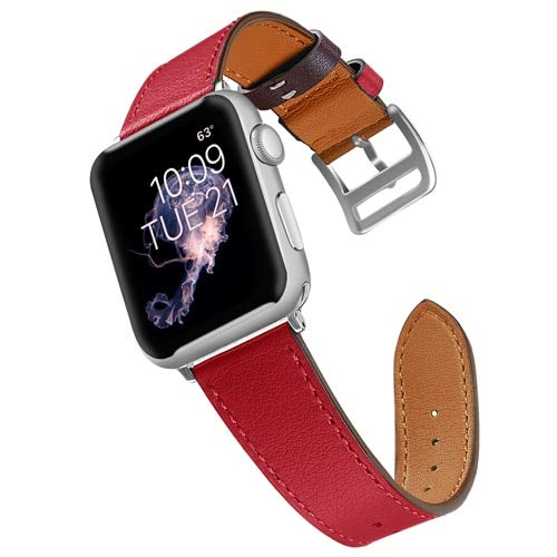 Amazon.com: Sport Leather Strap for Apple Watch Band 42mm ...