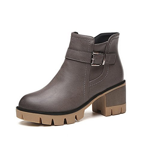 Allhqfashion Women's Solid PU Kitten-Heels Zipper Round Closed Toe Boots Gray dr0x9uxrvA