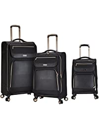 3 Piece Black with Gold Accent Spinner Luggage Set