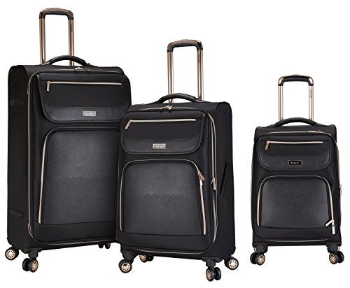 kensie 3 Piece Black with Gold Accent Spinner Luggage Set by kensie