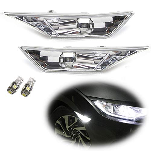 iJDMTOY JDM Clear Lens White LED Bulb Front Side Marker Light Kit For 2016-up Honda Civic Sedan/Coupe/Hatchback, Replace OEM Amber Sidemarker Lamps