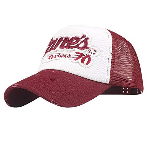 Baseball Caps Men Unisex Embroidery Mesh Trucker Baseball Cap Polo Style Hats (Wash Mlb Cotton Hat)