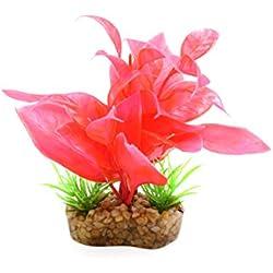 uxcell Red Plastic Mini Plant Aquarium Terrarium Decorative Ornament w/Stand for Reptiles and Amphibians