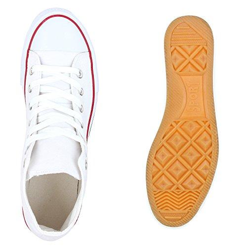 Stiefelparadies Herren Damen Sneakers High Top Profilsohle Freizeit Turnschuhe Flandell Weiß