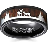 Metal Masters Co. Black Tungsten Hunting Ring Wedding Band Wood Inlay Deer Stag Silhouette