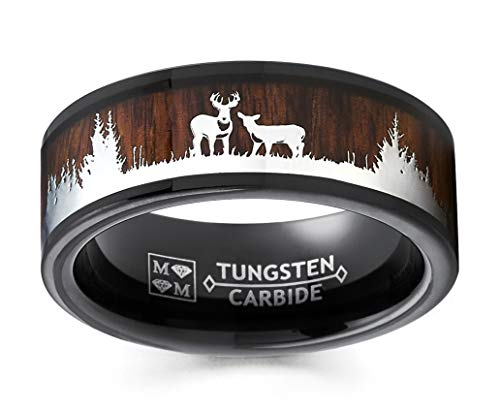 Metal Masters Co. Men's Black Tungsten Hunting Ring Wedding Band Wood Inlay Deer Stag Silhouette 9.5