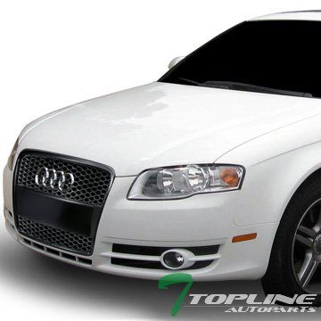 Topline Autopart Matte Black RS-Honeycomb Mesh Front Hood Bumper Grill Grille ABS For 05/06-08 Audi A4 B7