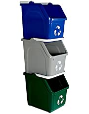 Busch Systems 3 Pack Multi Recycler with Recycling Logo - Blue | Grey | Green