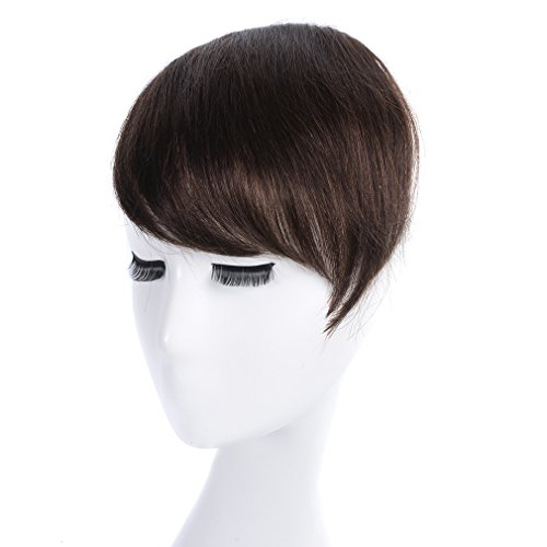 Clip in Bangs Dark Brown KNITTING One Piece 100% Real Human Hair Side Swept Clip in Fringe Bangs Hair Extensions 2#