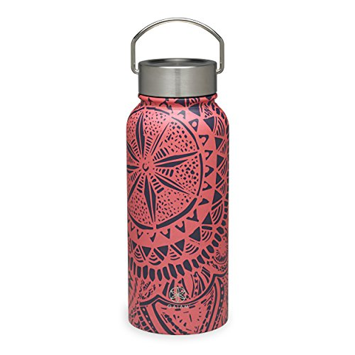 Gaiam Water Bottle Wide-Mouth Stainless Steel, Medallion, 32 oz