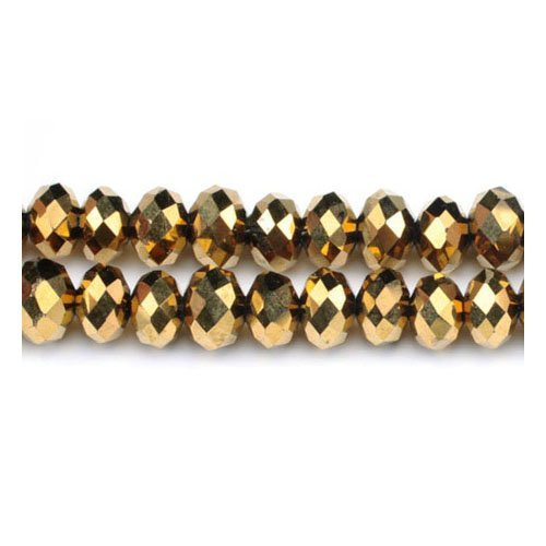 Strand 90+ Golden Czech Crystal Glass 3 x 4mm Faceted Rondelle Beads - (GC3534-1) - Charming Beads