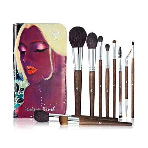 JENNIMER Makeup Brushes kit High End-10 Pc Premium Goat Hair Makeup Brush Brown Real Wood Thickened Copper Tube with Art Illustration Bag Foundation Blending Face Powder Blush Concealers Eye Shadows (Foundation Copper Powder)