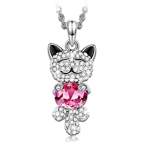 Christmas Gift for Her J.NINA Lucky Cat Girls Pendant Necklace with Pink Swarovski Crystals Birthday Gift for Daughter Girlfriend Jewelry Gifts for Women Wife Mom Kids Sister Friends