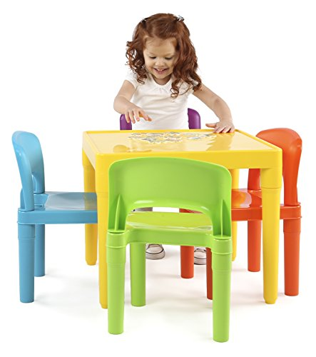 Tot Tutors Kids Plastic Table and 4 Chairs Set, Vibrant Colors