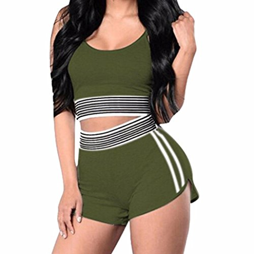 Halo Kettle (❤️Women Jumpsuit,Hot New Fashion 2018 Clearance Neartime Rompers Overalls Sexy Striped Sexy Sport Vest Active Tank Top Shorts 2 Piece Tracksuit (L, Green))