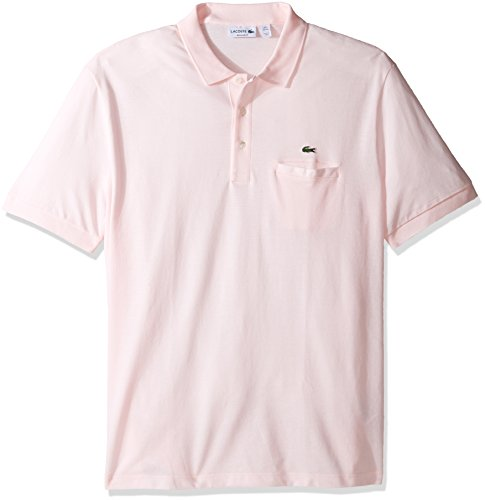 Lacoste+Men%27s+Short+Sleeve+Regular+Fit+Solid+Polo+with+Pocket%2C+Flamingo%2C+6