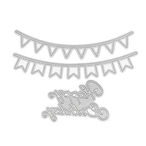 C-Pioneer Happy Birthday Banner Cutting Dies Stencil DIY Scrapbook Card Album Paper Craft Embossing Template Embellishments