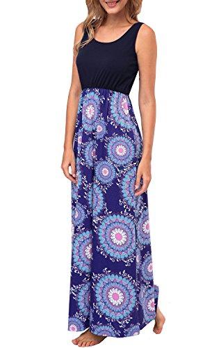 Kranda Womens Summer Bohemian Floral Print Sleeveless Maxi Tank Dress (Medium, - Maxi Print Dress