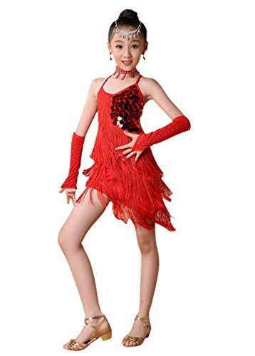Happy Cherry Kids Girls Sequin Fringe Stage Performance Dance Dress Competition Ballroom Dancewear Costume for 3-4Y Red ()
